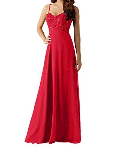 Charmant Damen Navy Blau Chiffon Traeger Abendkleider Brautjungfernkleider Partykleider lang A-linie Rock Rot