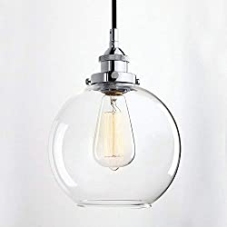 Louvra Glass Pendant Lights Industrial Vintage Clear Ball Shade Ceiling Pendant Light Globe Round Lampshade Hanging Lighting with Chrome E27 Base (9.8