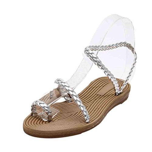 Saingace Frauen Sommer Weave Sandalen Home Sandalen Strand Flat Schuhe Silber