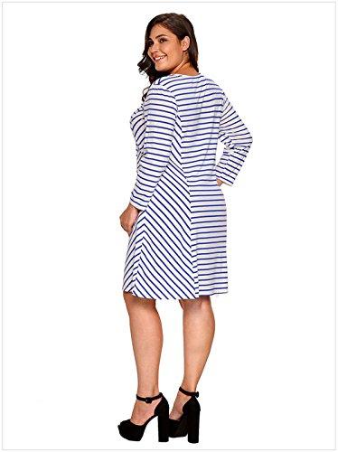 Plus Size a Maniche Lunghe Round Neck A Righe Rigato Strisce Mini Babydoll svasato a trapezioe di maternità T-Shirt Maglietta Dress Vestito Abito Blu