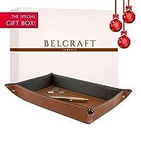Luni Large Leather Tidy Tray, Elegant present Box, Handmade Classic Italian Style, Key Wallet, Coin Box, Brown (28x19 cm)