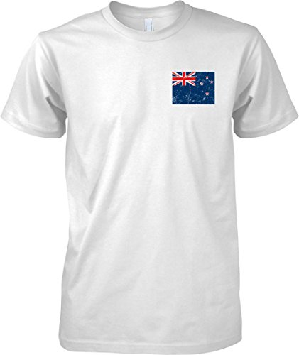 New Zealand Distressed Grunge Effect Flag Design - Mens Chest Design T Shirt - White - Adult Mens 38-40
