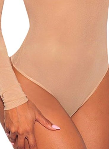 ACHICGIRL Women Nude Long Sleeve Sheer Mesh Slim Fit Bodysuit Nude
