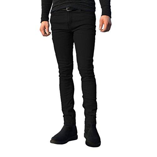 Pantalones vaqueros para hombre, ajustados, elásticos, pernera recta, de algodón, todos los tamaños de cintura disponibles negro negro 40W x 34L