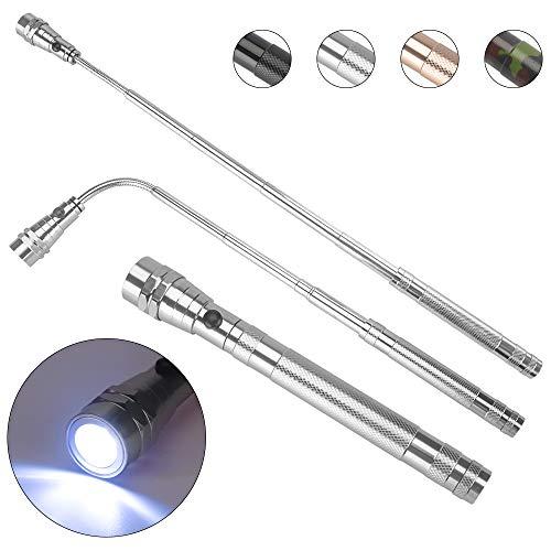 KIMILAR Einziehbares LED Taschenlampe Teleskop Verlängerung Fackel Licht mit Magnetisches Pick Up Tool (Max Length 57cm) Einschließlich Batterien (Argento)