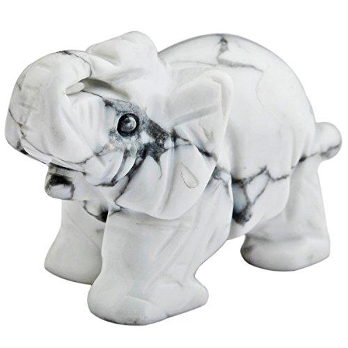 mookaitedecor Figura decorativa de elefante con cristales curativos y piedra de energía...