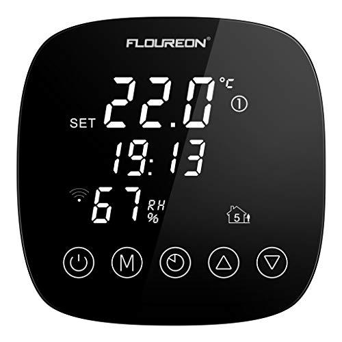 WiFi Funk Thermostat Raumthermostat Digital Wandthermostat programmierbar für Fussbodenheizung elektrische Heizung mit Feuchtigkeitssensor LED Touchscreen Fernbedienung durch Smartphone App - Wifi Funk-thermostat