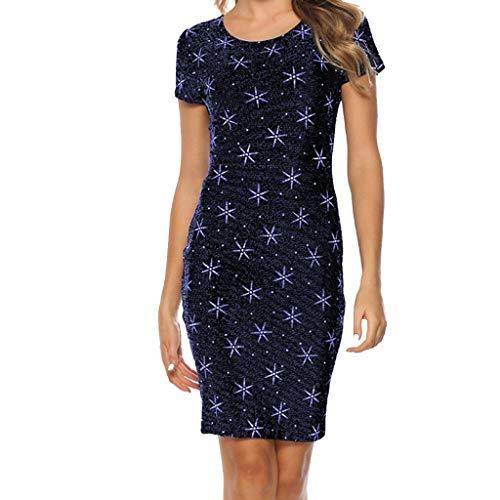 MAYOGO Hochwertig Kleid Damen Kleider Sommer Knielang Licht Mode Etuikleid Büro Kleid Polka Dots Kleid Kurzarm (Thailand Kostüme Kleider)
