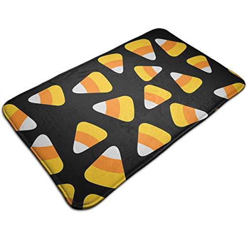 Miedhki Bath Mats Non-Slip Mats Candy Corn Happy Halloween Doormats Super Absorbent Indoor/Outdoor Uses 19.5