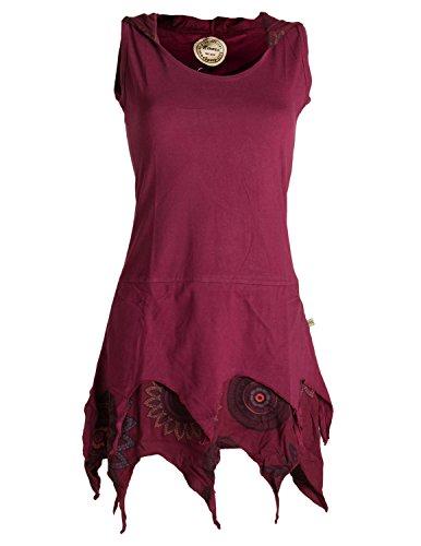 Vishes - Alternative Bekleidung - Zipfelige Elfentunika - im Lagenlook mit Blumen Bedruckt Dunkelrot 40 (L)