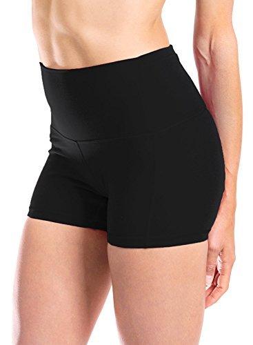 Top Booty Shorts (yogipace Damen Hohe Taille 7,6cm Hot Yoga Shorts WORKOUT Shorts Bikram kurz Booty Shorts Rückseite Handy Pocket Pass gedrungene/Bend Over Test, damen, anthrazit)