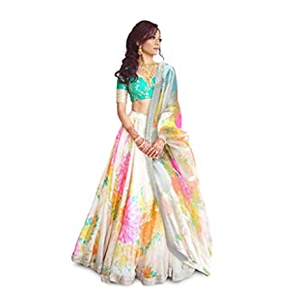 FabPixel Cream and Green Floral Print Embroidered Art Silk Lehenga Choli for Women
