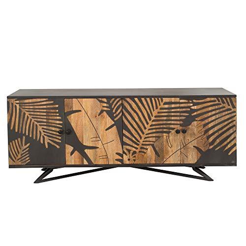 Riess Ambiente Massives Sideboard Tropical 175cm Mangoholz Florales Design Anrichte Kommode Wohnzimmerschrank