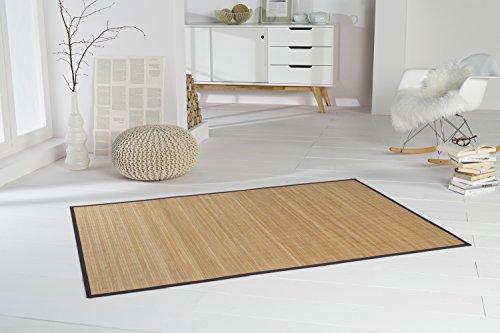 Bambusteppich HIGHQ 70x130cm, 11mm Stege, filigrane Bordüre, massives Bambus | Bordürenteppich | Teppich | Bambusmatte | Wohnzimmer | Küche | Markenprodukt von DE-COmmerce | nachhaltig und ökologisch