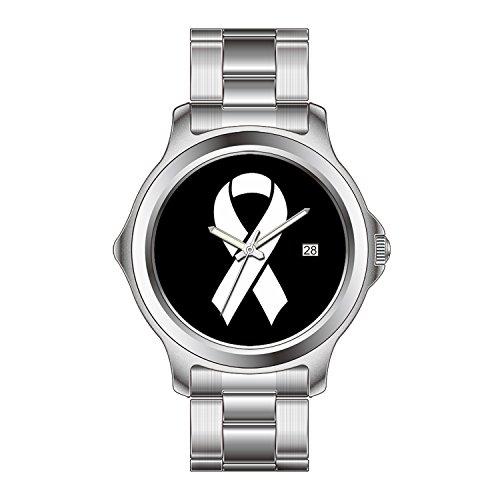FDC Weihnachten Geschenk Uhren Damen Fashion Japanisches Quarz-Datum Edelstahl Armband Armbanduhr Brustkrebs Bewusstsein Ideologie