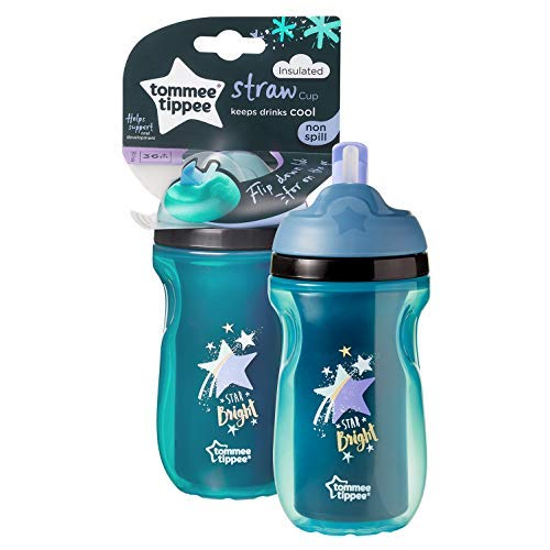 Tommee Tippee Active Straw Insulated Cup non versato BPA Free Age 12m +, 260ml, Green - Star