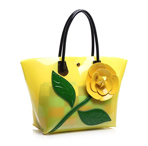 Verkauf Jelly (Frau Schultertaschen Fashion Jelly Handtasche Nussknacker Umhängetasche Transparent,Yellow-OneSize)