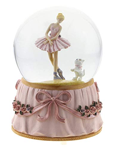 Ballerina and puppy musical snow dome Plays the Emperor Waltz (Musical Dome)