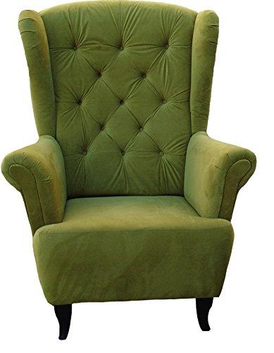Ohrensessel Grün Olivgrün LUDWIG Loungesessel Chesterfield