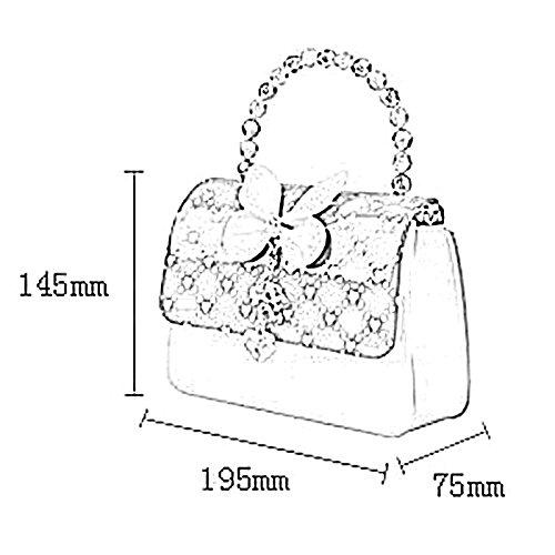Happy Cherry Klein Mädchen Tasche Prinzessin Tasche Kinder Umhängetasche PU Leder Handtasche Krone Handtasche Große Größe 19.5 x 7.5 x 14.5CM - Blau Rosa 2