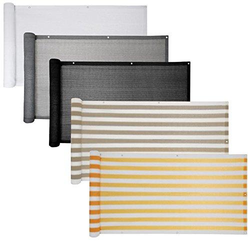 Balkon Sichtschutz verschiedene Modelle / Balkonbespannung Balkonsichtschutz Balkonverkleidung 6 Meter (0,9 x 6,0 Meter, Grau - Weiß gestreift)