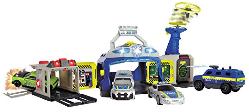Dickie Toys 203719011 Polizeistation, Ultimate Police Headquarter, Set Polizei, inkl. Fahrzeuge, bekannt aus TV-Werbung, Geschenkset Kinder, Mehrfarbig