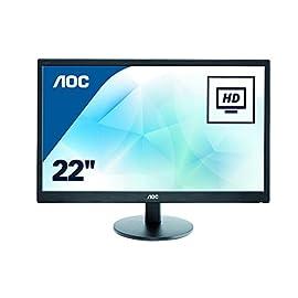 AOC E2270SWN Monitor PC Led 22 pollici, VGA, Nero