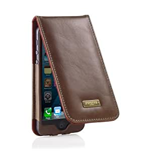 Pipetto iPhone 5 / 5S / 5C Classic Flip Case - Leather Wallet Cover - Khaki Brown (Compatible with iPhone 5, iPhone 5S, iPhone 5C, iPhone SE)