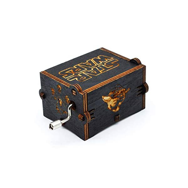 Black Wood Star Wars Music Box, Antique Carved Hand Cranked Wooden Musical Boxes Home Decoration Crafts for Children Gifts 3