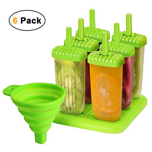 unibelin Eisformen, EIS am Stiel Formen 6 Stück BPA Frei Spülmaschinenfest Eisformen Popsicle Formen Set Mit Falttrichter Wiederverwendbare Eisformen für DIY Selbstgemachtes EIS