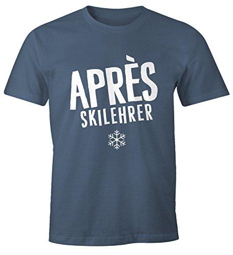 MoonWorks Apres-Ski Lehrer Herren T-Shirt Fun-Shirt Denim M (Denim Lehrer)