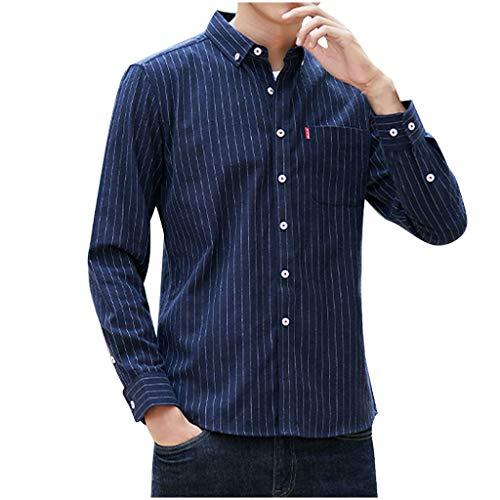 serliyHemd Herren Hemden Männer Gestreiftes Das Karierte Baumwoll-Leinen Langarm Button T-Shirt Bluse Fit Slim Tops Herren Freizeithemd Hemd (Youth T-shirt Stunden)