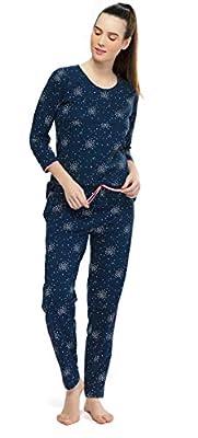26eda83ea19 ZEYO Women s Cotton Navy Blue   Pink Feeding Night Suit