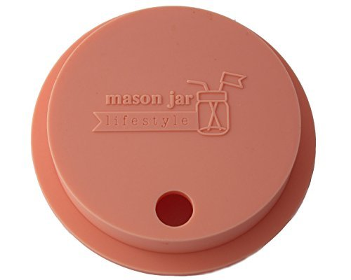 Silicone Fermentation Lid and Straw Hole Tumbler for Wide Mouth Mason, Ball, Canning Jars (Light Coral) by Mason Jar Lifestyle (0.5 Gallone Kit)