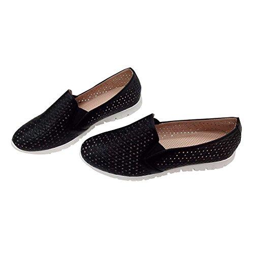 Hengfeng Femmes en cuir respirant confortables appartements pas de lacets Chaussures plates 6069-57A Noir