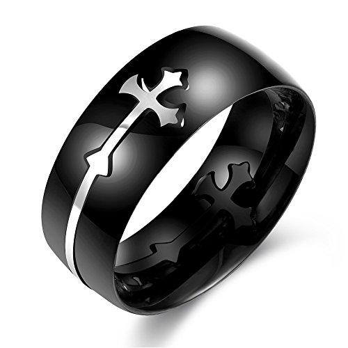 Anillo cruzado, 4 tamaños antiguo patrón de cruz anillo negro acero inoxidable banda de dedo regalo de la joyería de los hombres(#8)