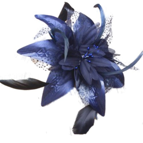 elegant-navy-blue-chiffon-flower-feather-fascinator-on-comb-ideal-weddingladies-day-ascot-derby-spec
