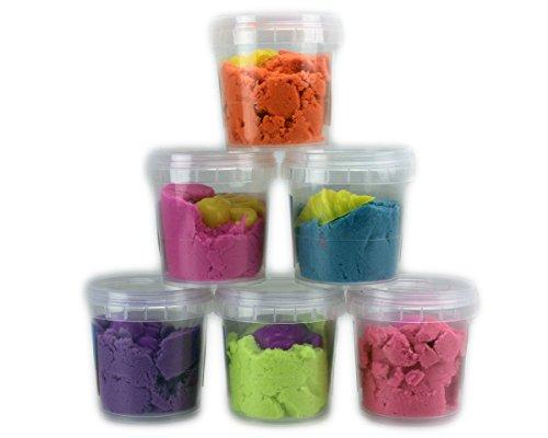 Preisvergleich Produktbild GYD Magic Micron 600g Spielsand Sand bunt Indoor 6x100g im Becher Grün Blau Lila Rosa Pink Orange