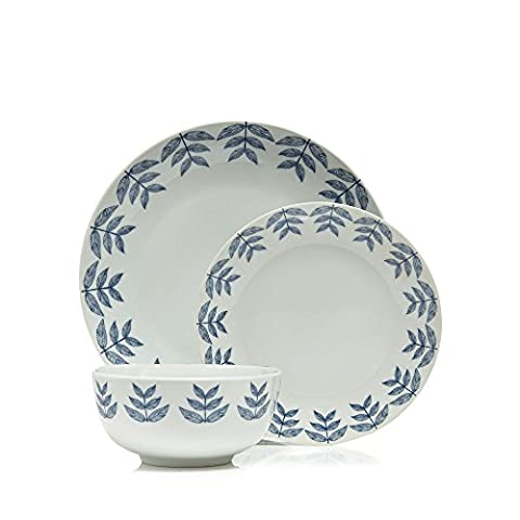 Home Collection Blue 12 Piece Leaf Print Dinner
