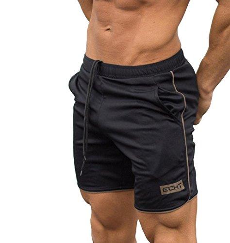 ZEZKT-Herren Dehnbar Sporthose, Männer Casual Jogginghose Fitness Motiv Kurze Hose Trainingsshorts Freizeithose Trainingshose Sport Fitness Bodybuilding Jogger Sweatpants Sportwear (M, Gold)