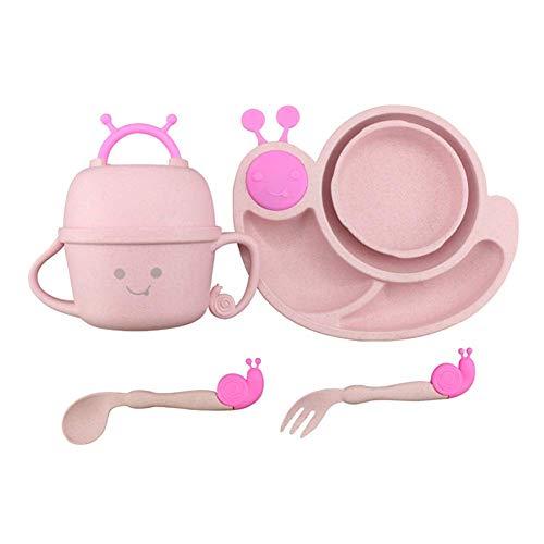 LIBOYUJU Trainingsplatte Löffel Set Weizen kreative Anti-Hot Anti-Fall Kinder Geschirr Cartoon Schnecke Plaid Baby Löffel Gabel Löffel Schüssel Geschenkbox,Pink Hot Pink Plaid Design