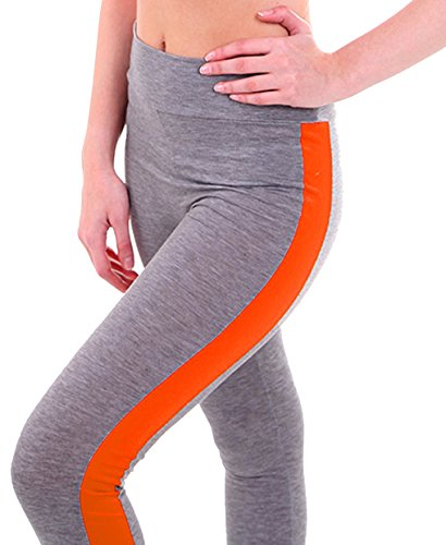 U-shot Femme Taille Empire Fitness Sports Pantalon Stretch Casual Leggings  Gris clair + Orange ... d2da1bd7a3a