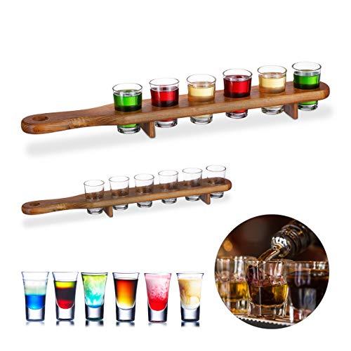 Relaxdays 2 x Schnapsbrett Holz, 12 Schnapsgläser, 4 cl, praktische Schnapslatte, halber Meter, Geschenkidee, Shotbrett, braun (Holz Glas Shot)