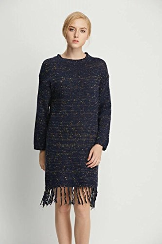 YLSZ-Sweater Dresses Western Style Color Mixer Edging Sweater Dresses Women, Navy Blue Are Code Navy blue are code