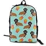Dachshund Hot Dog and Fries Food Funny Dog Costume Cute Dog Wiener Dog Adult Premium Travel Backpack, Water-Resistant College School Bookbag, Sport Daypack, Outdoor Rucksack, Laptop Bag for Men&Women