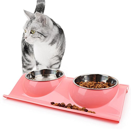 Abree due ciotole per cani e gatti acciaio inox con antiscivolo w-shaped base ciotola cane per acqua e cibo piccoli animali pet feeder (38 x 25 x 6cm/2 x 320ml)