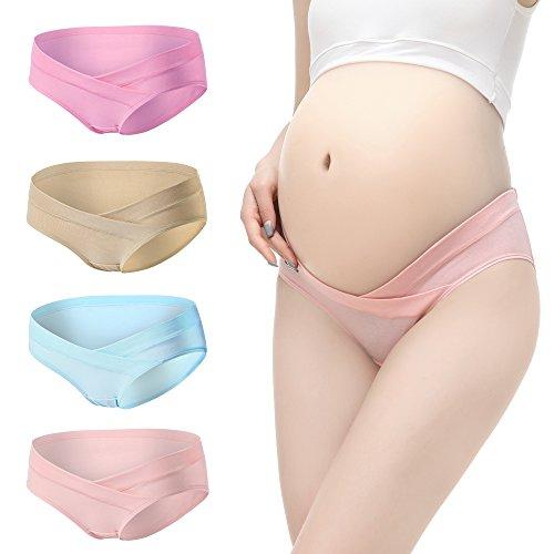 Baumwoll-print-unterwäsche-set (Shentukeji Schwangere Frauen Baumwolle Cartoon Print und einfarbige Unterwäsche Set 4 Stück - - Groß)