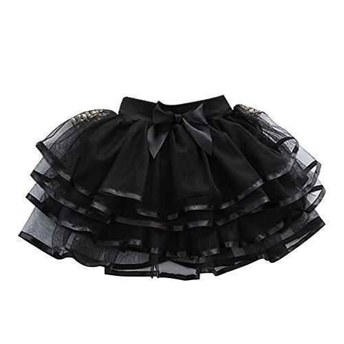 Free Fisher Niñas Falda Vestido capas Tutú Ropa de Baile Fiesta Casual, Negro, 18 meses-3 años(Talla fabricante: 100)