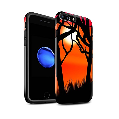 STUFF4 Glanz Harten Stoßfest Hülle / Case für Apple iPhone 7 Plus / Kürbis/Hexe Muster / Halloween Szene Kollektion Gruseligen Wald