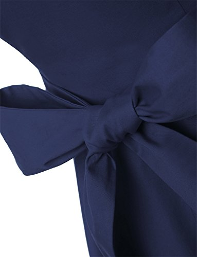 Dressystar Damen Vintage 50er Cap Sleeves Dot Einfarbig Rockabilly Swing Kleider M Marineblau - 6